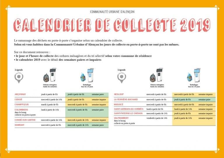 Le nouveau calendrier des collectes 2019 est disponible