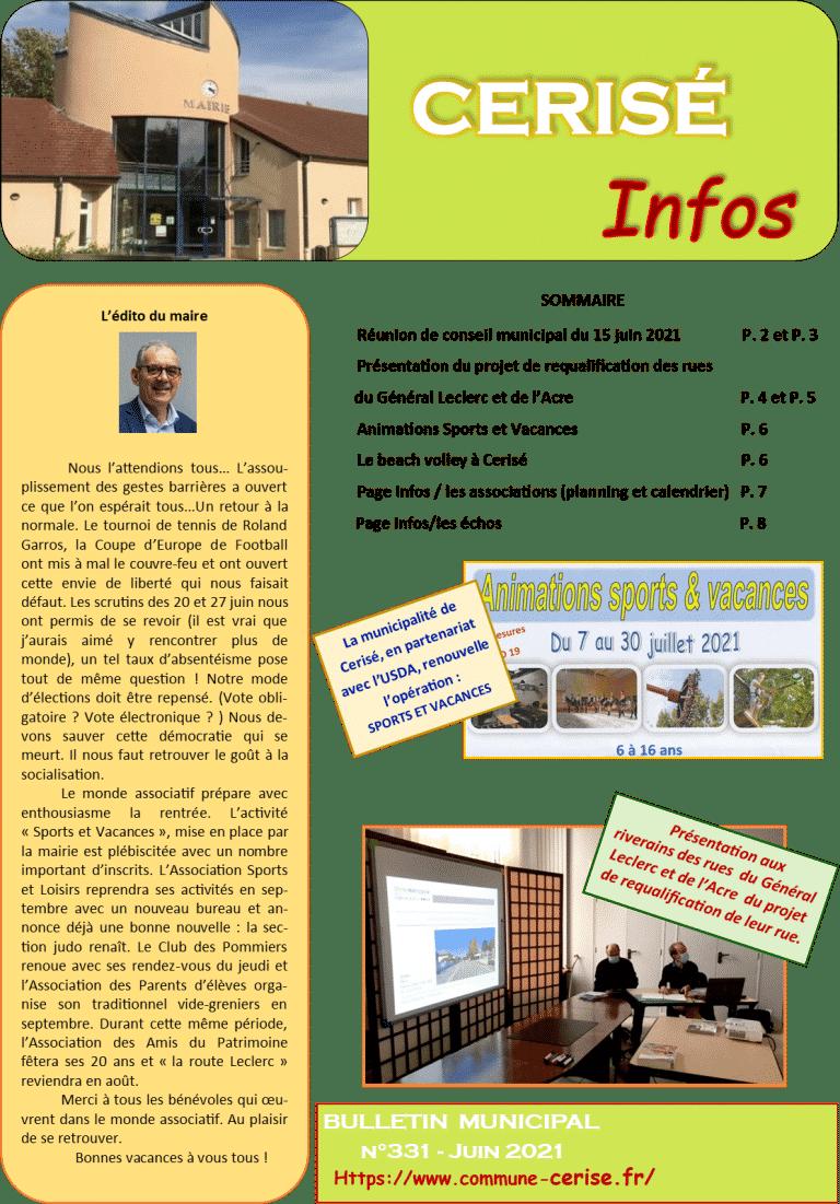 Bulletin municipal n°331 Juin 2021