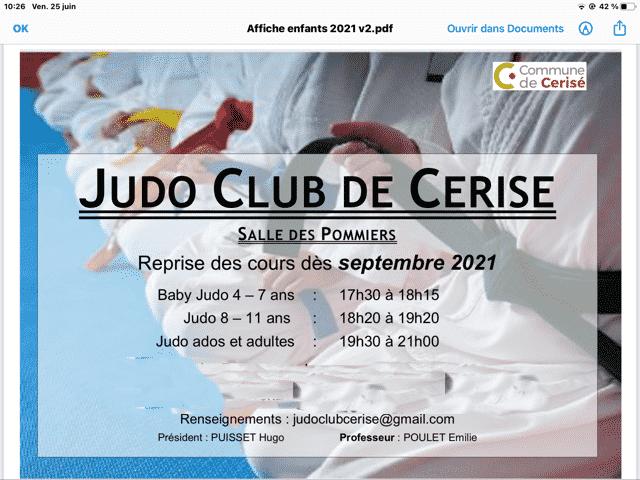 Cerisé : inscription judo saison 2021/2022